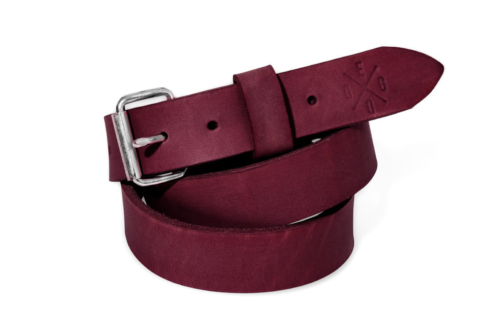 Úzký kožený pásek Murdock M - tmavě fialová