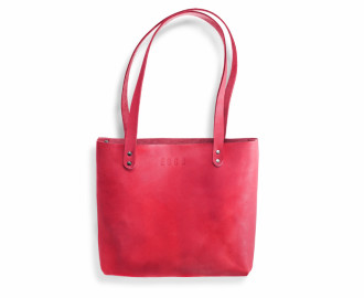 Women's leather handbag Mead - red