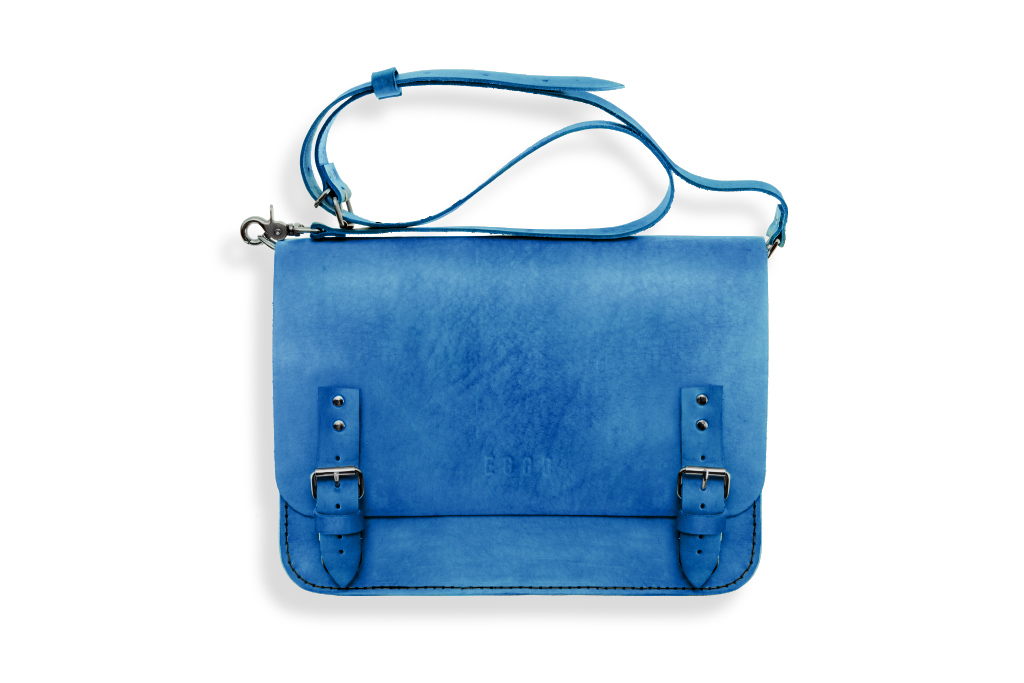 Leather briefcase Eggo Benedict - blue