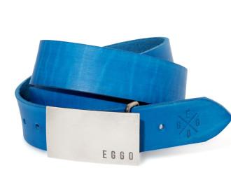 Wide leather belt Bastian - blue