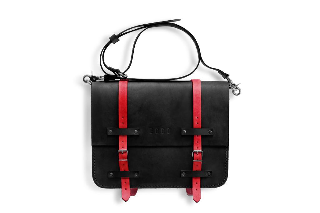 Leather briefcase Frazer - black