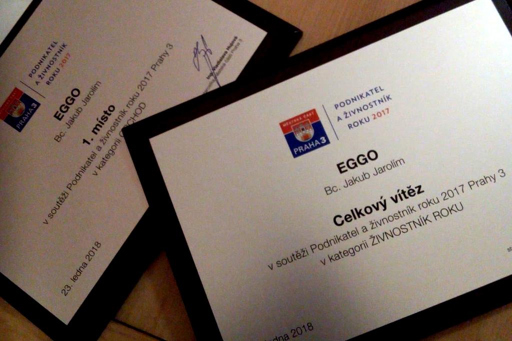 Eggo vyhrálo soutěž o Podnikatele a živnostníka roku 2017 Prahy 3